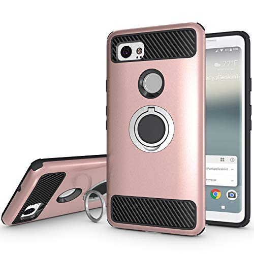 Newseego Compatible with Google Pixel 2 XL Case with Armor Dual Layer 2 in 1 with Extreme Heavy Duty Protection and Finger Ring Holder Kickstand Fit Magnetic Car Mount for Google Pixel 2 XL-Rose Gold