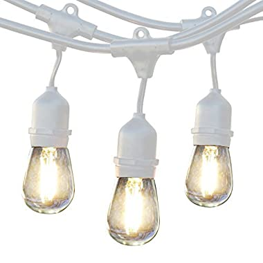 Brightech Ambience Pro LED Commercial Grade Waterproof Outdoor String Lights -Weatherproof Hanging Edison Vintage Filament Bulbs/Patio Lighting- Dimmable 2W 48 Ft Cafe Bistro Lights -WHT