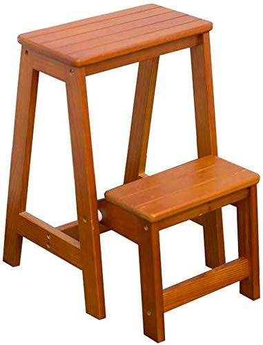 CHGDFQ Escalera plegable de madera maciza para el hogar, con 2 escaleras, para interiores y móviles, color marrón