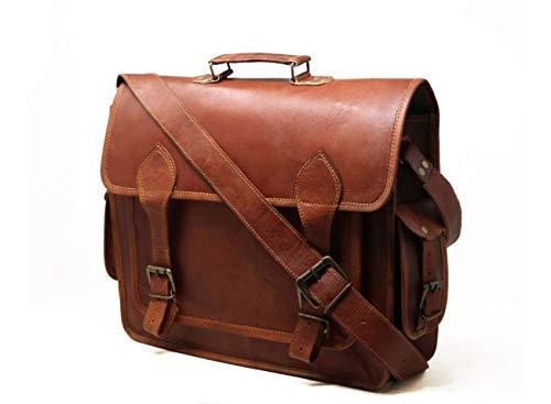 JAALD 40 cm echt lederen laptoptas schoudertas fietstas schooltas waterdicht vintage heren dames cadeau XL lederen messenger bag
