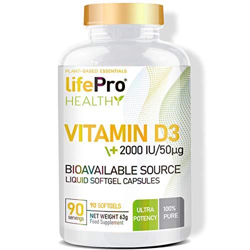 Life Pro Vitamin D3 2000UI 90 Softgels | Suplemento Vitamina D que Estimula Sistema Inmunológico | Fortalece Articulaciones y Huesos
