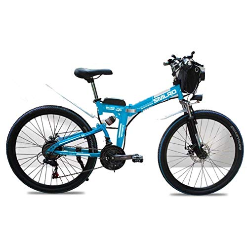 CNRRT Bicicleta eléctrica de Bicicleta de montaña 48V Bicicleta eléctrica Plegable de 26 Pulgadas de 26 Pulgadas, con Giro fetal de 4,0 Pulgadas, Choque Completo, Blanco (Color : Blue)