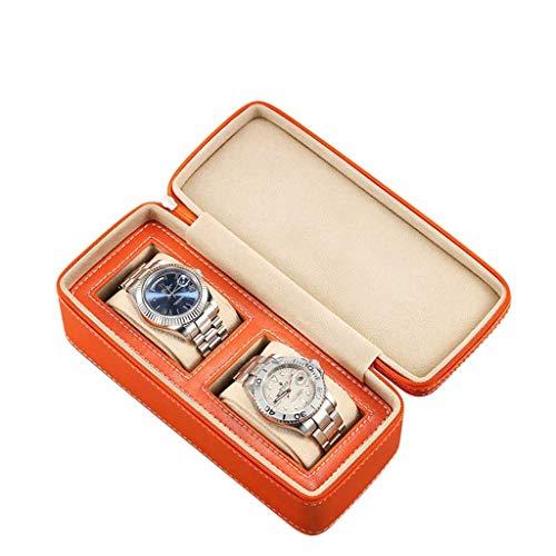 SHAMATE Caja De Reloj De Cuero Caja De Cajas De Almacenamiento De Reloj Para Hombre Negro Con Ventana Joyas Caja De Regalo Para Mujer Exhibición De Moda (Color : Orange)