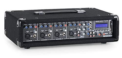 Pronomic PM42U MKII MP3 4-Kanal Powermischer - Mischpult mit Verstärker und integriertem USB/SD MP3-Player - 2x 100 Watt - Mic/Line/Instrument-Input - Powermixer mit 3-Band Graphic Equalizer