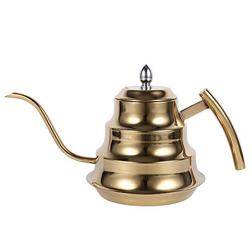 VBESTLIFE 1.2L Caffettiera Induzione in Acciaio Inossidabile per Bollitore da caffè Teiera Design a Giuntura di bambù a Collo di Cigno caffè Bollitore a Goccia Pentola(Oro)