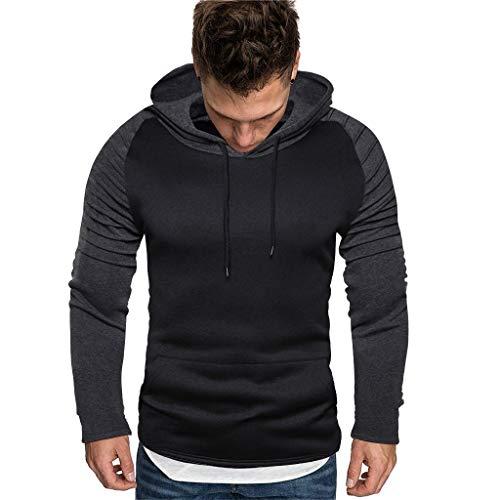 ODRD Herren Sweatshirt Pure Color Stitching Hooded, Patchwork Kapuzenpullover Pullover Männer Hooded Jungen Sweat/Sweatshirt, Herren Kleidung Hoodie Jungen Pulli Sweatshirts für Sport, Training