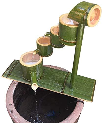 Bambus Wasserspiel Mit Pumpe Bambusbrunnen Für Den Garten Gartendeko Brunnen Wasserfall Kaskade Gartendekoration Skulptur Deko Statuen Für Gartenteich Terrasse Balkon wasserdicht Schimmelbeweis,70cm