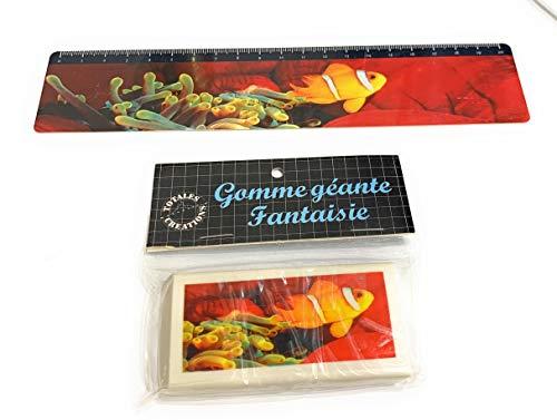 Totales Créations-Lote de una regla de plástico flexible de 20 cm de pez payaso + una goma gigante de 8,5 cm de pez payaso.