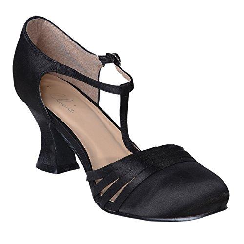Women's Sexy Black Shoes 2.5 Inch Heel Satin Dance Shoe Flapper Costume 1920s Size: 7