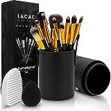 Lacari  Kosmetikpinsel Set [12 Pinsel] aus hochwertigem Echthaar - Professionelles Make-Up Set mit vielen Arten von Pinseln - Gratis Pinselreiniger und Beauty Blender