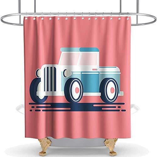 N\A Classic Car Duschvorhang Stoff Stoff Kinder Badezimmer Dekor Set mit Haken wasserdicht waschbar