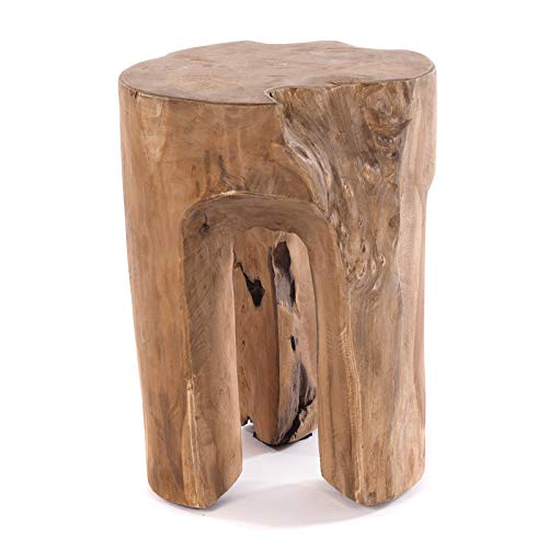 DESIGN DELIGHTS RUSTIKALER BAUMSTAMM HOCKER Log | 41x29x29 cm (HxBxT), Recyclingholz, Natur | Sitzhocker