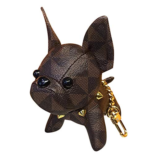 French Bulldog Keychain Luxury Vintage PU Leather Car Circle Key Rings Pendant Purse Handbag Backpack Accessories Gift for Women Kids