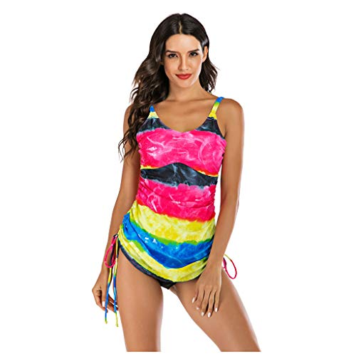 TOPUNDER Womens Sleeveless Printing One-Piece Swimwear Diving Surfing Swimsuit Beachwear