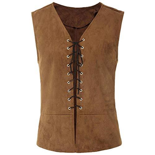 ZHANSANFM Herren Vintage Römische Steampunk Gothic Weste Lace up Regular Fit Elegant Jacke Waistcoat Uniform Mittelalter Kleidung Basic Casual Ärmellos Cosplay Party Kostüm (3XL, Khaki)