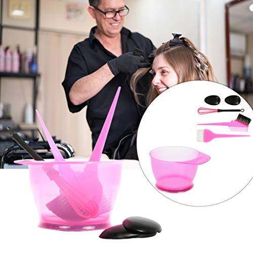 Outil de teinture pour les cheveux 5 Pieces Hair Coloring Tools Kit Hair Coloring Dyeing Kit Color Brush Comb Mixing Bowl Salon Tint Tool Set (rose)