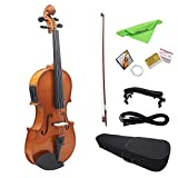 Asdomo 4/4 Full Size Natural Acoustic EQ Violine Geige Massivholz Fichte Face Board mit 6,35 mm 1/4'Stecker Draht Schulterstütze Bogen Kolophonium Saubere Tuch Hard Case