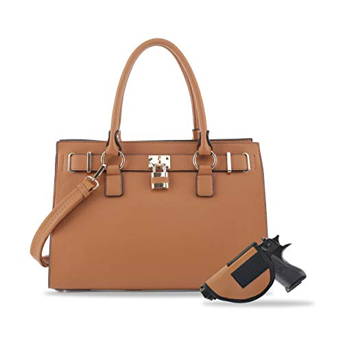 Concealed Carry Purse - Dina Lock Concealed Carry Satchel (Tan)