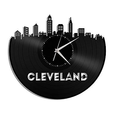 VinylShopUS Cleveland Ohio Vinyl Wall Clock Cityscape Personalized Decor