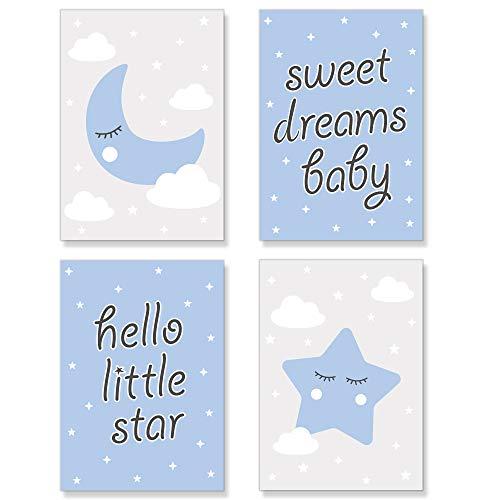 PREMYO Bilder Kinderzimmer Deko Jungen - Poster Set Babyzimmer - Wandbilder Schlafzimmer Mond Stern Wolken Blau DIN A4
