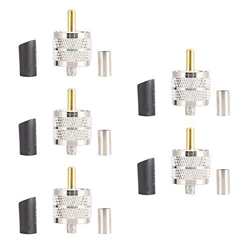 5 pezzi UHF connettori a crimpare maschio RG58 LMR195, UHF Pl-259 connettore maschio a crimpare connettore Pl259 connettore cavo coassiale per sistemi di comunicazione wireless, antenna corta Feede