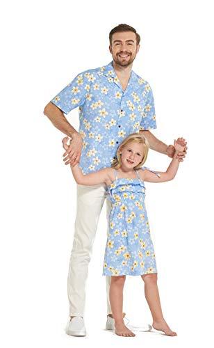 Hecho en Hawaii a Juego Padre Hija Hija Luau Camisa Chica Volante Vestido en Pretty Plumiera en Azul M-4