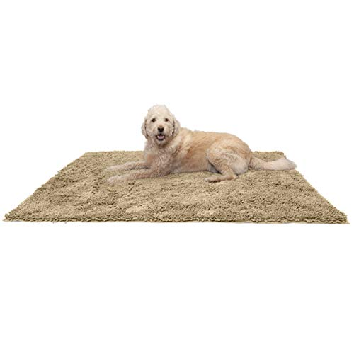Furhaven Pet Dog Mat - Muddy Paws Absorbent Chenille Shammy Bath Towel and Food Mat Rug for Dogs and Cats, Sand (Tan), Jumbo Plus