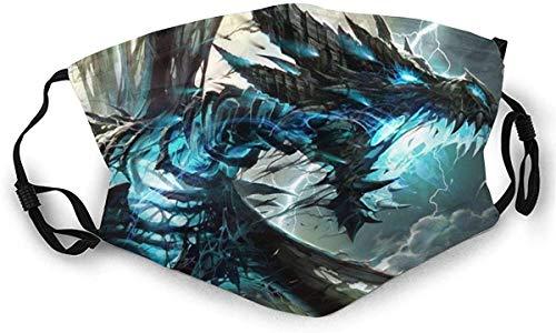 Protección bucal ajustable Trueno Dragón Azul Rayo Anti Polvo Adultos Reutilizable Medio Cara Para Hombres Mujeres