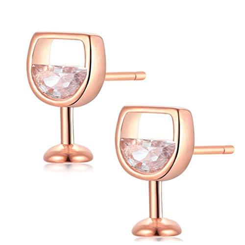 YAZILIND simple vino verde forma pendientes femenino lindo stud copa de la oreja joyería (oro rosa)