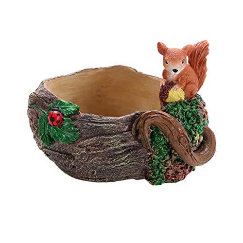 Yardwe Pot de Fleurs avec Trou Creative Décoration Décorations Mini Dessin animé Résine Plantes artificielles Fleshy Pot de Fleurs Jardin (Colored Drawing)