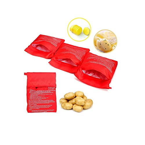 Wohlstand 4Pcs Patate Microonde Patate Pouch,Lavabili Riutilizzabili Microonde Patate Bag in Microonde Patate Ideale Solo in 4 Minuti(Rosso)