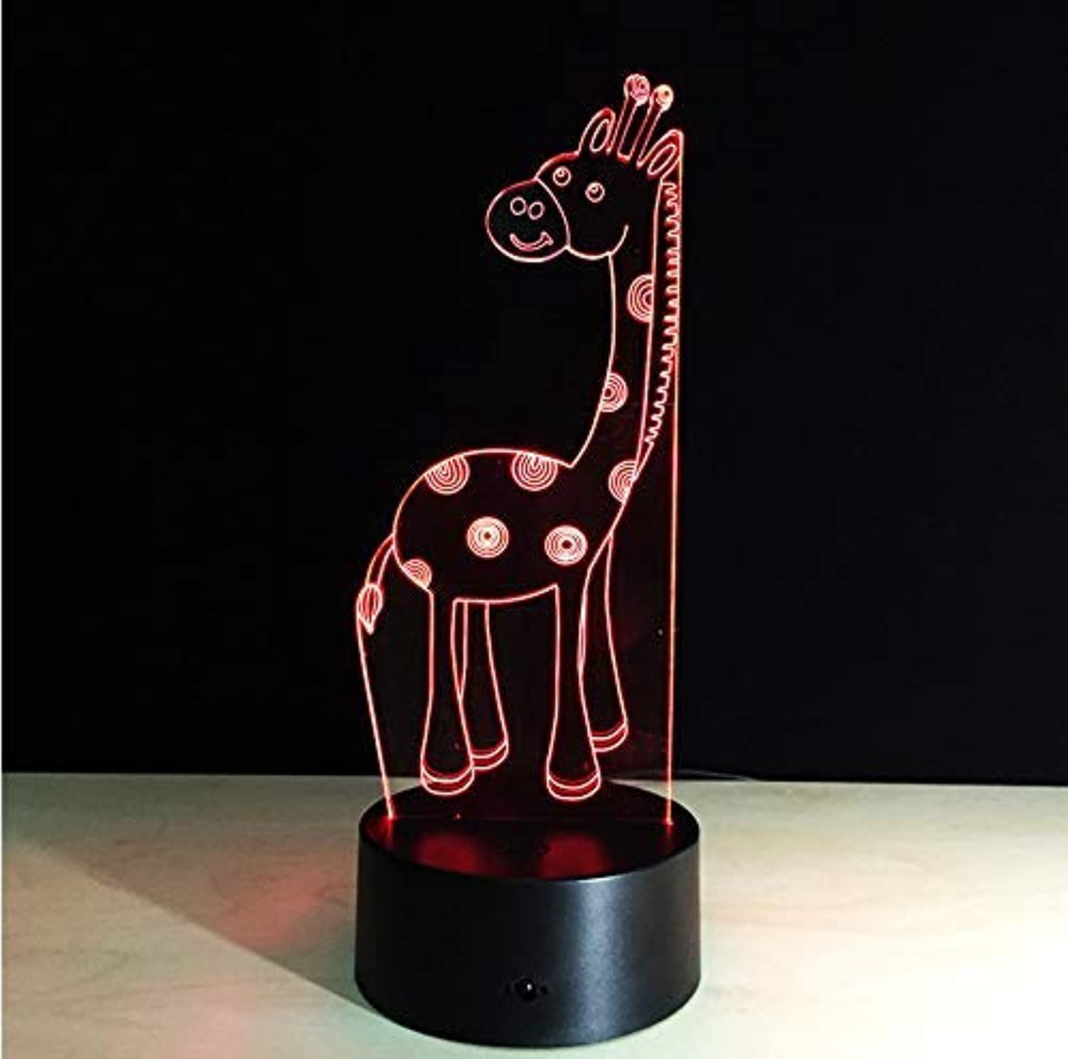 BMY Cute Giraff3D Lamp Led Night Light with 7 color Changing Remot Touch Table Lamp USB Optical Illusion Atmosphere Lamp Xmas Gift