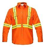 Flame Resistant High Visibility Hi Vis FR Shirt - 100% C - 7 oz (Large, Orange)