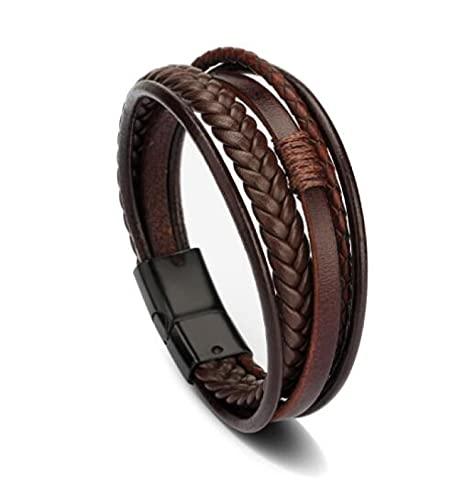 MENGHUA Joyería de moda cuerda de cuero pulsera tejida a mano pulsera de los hombres estilo étnico joyería marrón