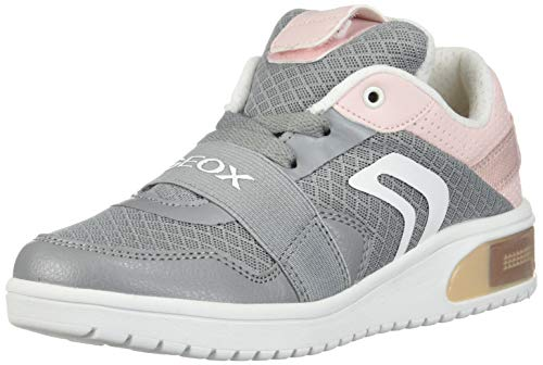 Geox XLED Girl J928DA Mädchen High-Top Sneaker,Kinder LED Licht Text,Schnürung,Sportschuh,Mid Cut Sneaker,Grey/LT Rose,32