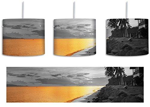Entspanntes Urlaubsgebiet schwarz/weiß inkl. Lampenfassung E27, Lampe mit Motivdruck, Deckenlampe, Hängelampe, Pendelleuchte - Durchmesser 30cm - Dekoration mit Licht