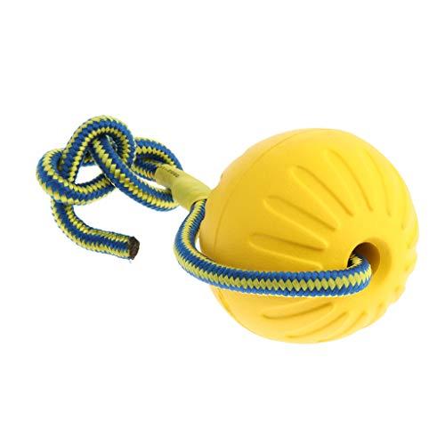 B Blesiya Hundeball Hundespielball mit Schnur, Eva Hundespielzeug Ball am Seil für kleine und große Hunde - Gelb, L
