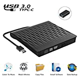 Lettore DVD esterno USB 3.0, portatile ultra sottile USB C CD/DVD RW masterizzatore per laptop e desktop, compatibile con Windows XP/ Win8.1/ Wind10/ Vista/7, Linx, Mac10 OS System