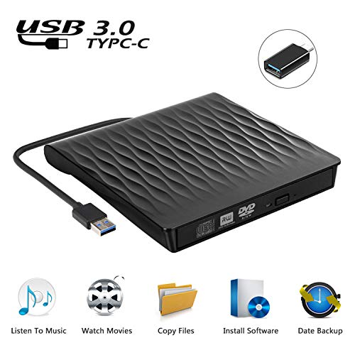 USCVIS Grabadora de Lector CD/DVD Externa USB 3.0 y Tipo C, CD Externo para Portatil, Unidad de CD/DVD/RW/CD ROM Externa Ultra Slim para Win 10/8/7/Linux/Macbook/Desktop