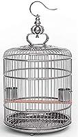 ローリングスタンドと給餌カップを備えた18インチのステンレス鋼の鳥かご-オウムのラブバードオカメインコインコ用,L