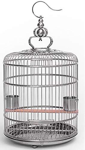 RSTJ-Sjef 18 Zoll Edelstahl Vogelkäfig Mit Rollständer Und Fütterungsbecher - Für Papageien Lovebird Cockatiel Sittiche,L