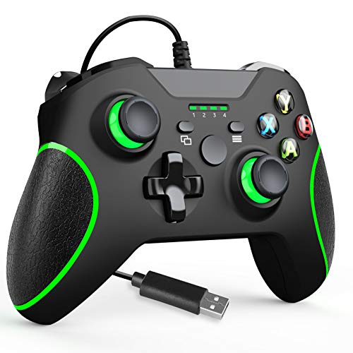 YCZHDV Wired Controller for Xbox One, USB Gamepad Remote Joystick Compatible with Xbox One/One S/One X/PC(Windows 7/8/10), with Audio Jack, Dual-Vibration Function(Black)