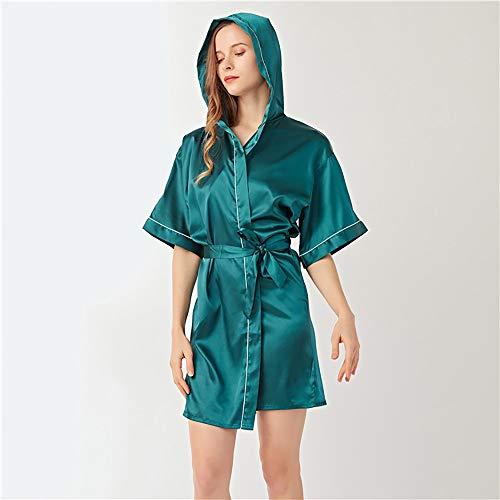 HGYLIOE Simulación Damas camisón de Seda, Femenino Capucha Albornoz, Verano Fina Homewear (Color : H, Size : M)