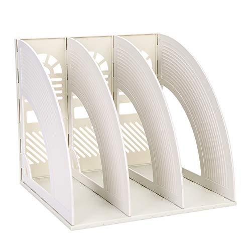 Stehsammler Zeitschriftenbox 3/4 Fächer Box-Datei Kunststoff Office Schreibtisch Organizer Stabil Sammelhalter Dokument Veranstalter für Papiere Zuhause Büro Bücher Arbeitszimmer