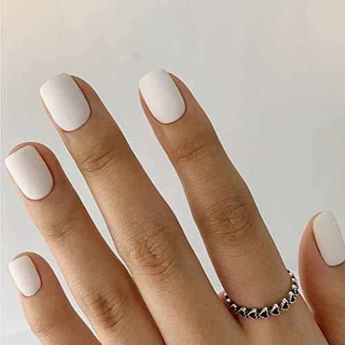 Sethexy Matt Kurz Fälschung Nägel Quadrat Rein Weiß 24 Stk Vollständige Abdeckung Acryl Drücken Sie auf Falsche Nagelspitzen zum Frauen und Mädchen