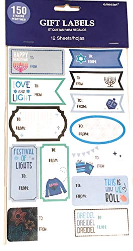 150 Hanukkah Gift Tag Stickers - Hanukkah Labels Self-Adhesive Stickers for Gifts - Party Favor Decorations