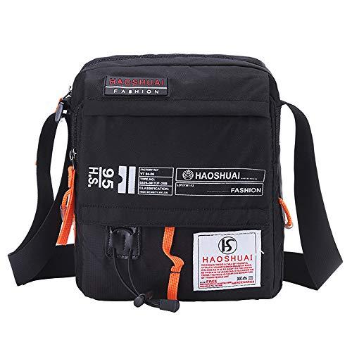 JAKAGO Wasserdichte Umhängetasche Messenger Bag Crossbody Bag Handytasche Satchel passt für Handy/iPad/Tablet bis zu 10 Zoll für Sport Reisen Outdoor Camping Wandern M Schwarz