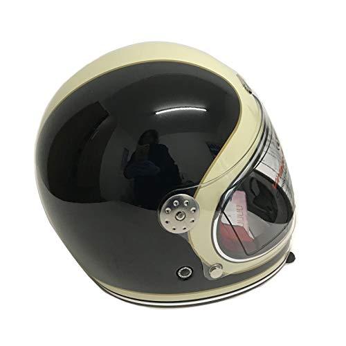 Viper F656 Fiberglas Vollgesichtsmotorrad Retro Klassisch Helm Schwarz und Cremeweiß Fahrradschutzausrüstung (M (57-58 CM))