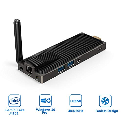 Fanless PC Stick Intel Gemini Lake J4105 Windows 10 Pro Computer Stick 4GB DDR4 64GB Support 4k@60Hz, Gigabit Ethernet, 2.4G+5G WiFi, BT4.2