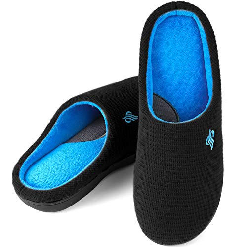 Wishcotton Men s Contrast Color Warm Cotton Slippers Winter Breathable Indoor Outdoor House Shoes,9 to 10 M US,Black